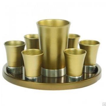 תמונה של סט קידוש מאלומיניום - גביע + 6 כוסות + מגש (זהב) - יאיר עמנואל