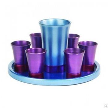 תמונה של סט קידוש מאלומיניום - גביע + 6 כוסות + מגש (סגול) - יאיר עמנואל