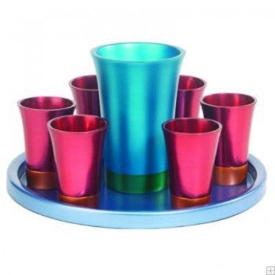 תמונה של סט קידוש מאלומיניום - גביע + 6 כוסות + מגש (אדום) - יאיר עמנואל