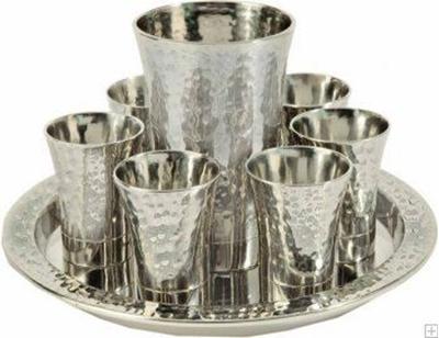 תמונה של סט קידוש מניקל - גביע + 6 כוסות + מגש (כסף) - יאיר עמנואל
