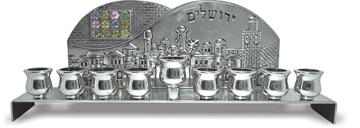 """תמונה של חנוכיה מניקל """"ירושלים"""""""