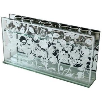 תמונה של חנוכיה מזכוכית מלבנית לשמן