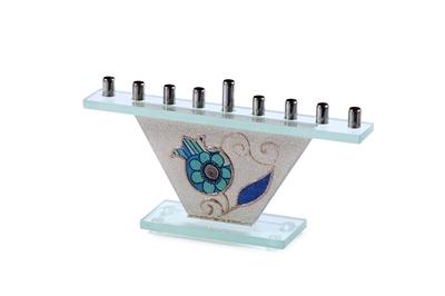 """תמונה של חנוכיה מזכוכית קונוס """"רימונים"""" (כחול) - לילי אומנות"""