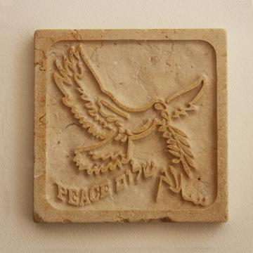 """תמונה של משקולת נייר מאבן ירושלמית """"שלום"""" - קיסריה ארט"""