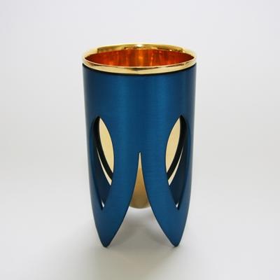 תמונה של גביע קידוש מניקל וזהב 24 קראט (כחול וזהב) - קיסריה ארט