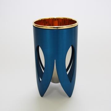תמונה של גביע קידוש מניקל וזהב 24 קראט (כחול וכסף) - קיסריה ארט