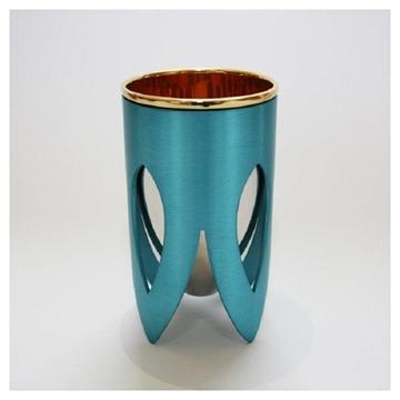 תמונה של גביע קידוש מניקל וזהב 24 קראט (טורקיז וכסף) - קיסריה ארט