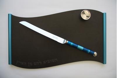 """תמונה של מגש לחלת שבת מגרניט-פורצלן """"גל"""" (כחול) - קיסריה ארט"""