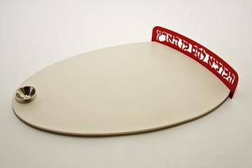 """תמונה של מגש לחלת שבת מגרניט-פורצלן """"אליפסה"""" (אדום) - קיסריה ארט"""
