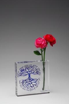 """תמונה של אגרטל מקריסטל """"ברכת הבית"""" (כחול) - קיסריה ארט"""