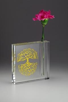 """תמונה של אגרטל מקריסטל """"ברכת הבית"""" (זהב) - קיסריה ארט"""