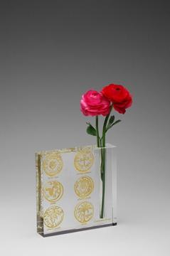 """תמונה של אגרטל מקריסטל """"מטבעות"""" (זהב) - קיסריה ארט"""