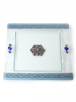 תמונה של מגש מצות מזכוכית (כחול) - לילי אומנות
