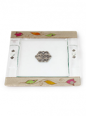 """תמונה של מגש מצות מזכוכית """"ורדים"""" - לילי אומנות"""