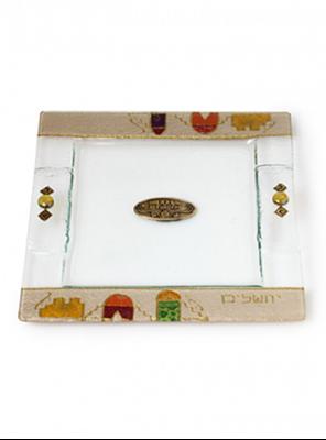"""תמונה של מגש מצות מזכוכית """"ירושלים העתיקה"""" (צבעוני) - לילי אומנות"""
