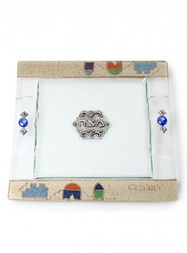 """תמונה של מגש מצות מזכוכית """"ירושלים העתיקה"""" (כחול) - לילי אומנות"""