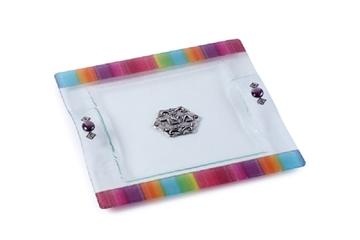 תמונה של מגש מצות מזכוכית (צבעוני) - לילי אומנות