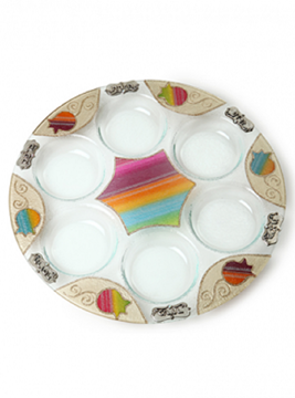 """תמונה של צלחת פסח מזכוכית """"רימונים"""" (צבעוני) - לילי אומנות"""