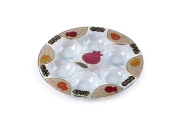 """תמונה של צלחת פסח מזכוכית """"רימונים"""" - לילי אומנות"""
