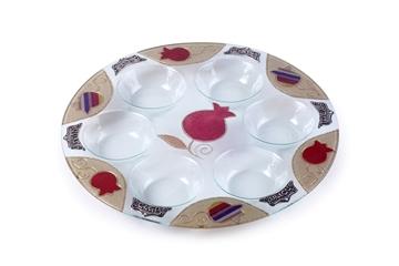 """תמונה של צלחת פסח מזכוכית """"רימונים"""" (אדום) - לילי אומנות"""