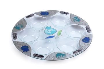 """תמונה של צלחת פסח מזכוכית """"רימונים"""" (כחול) - לילי אומנות"""