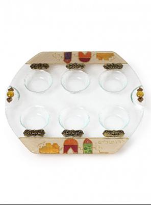 תמונה של צלחת פסח מזכוכית אליפטית - לילי אומנות