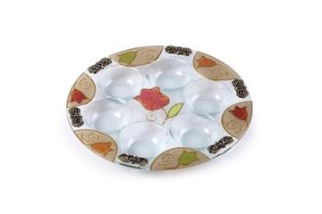 """תמונה של צלחת פסח מזכוכית """"פרחים"""" - לילי אומנות"""