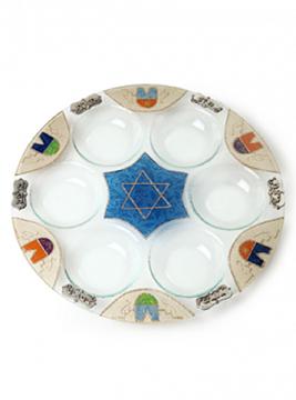 """תמונה של צלחת פסח מזכוכית """"מגן דוד"""" - לילי אומנות"""