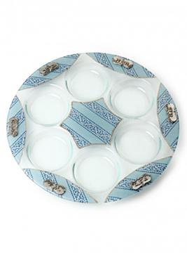תמונה של צלחת פסח מזכוכית (כחול) - לילי אומנות