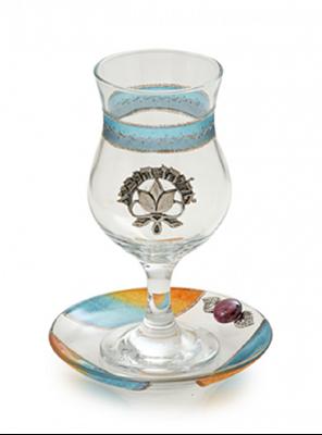תמונה של כוס אליהו ותחתית מזכוכית (צבעוני) - לילי אומנות