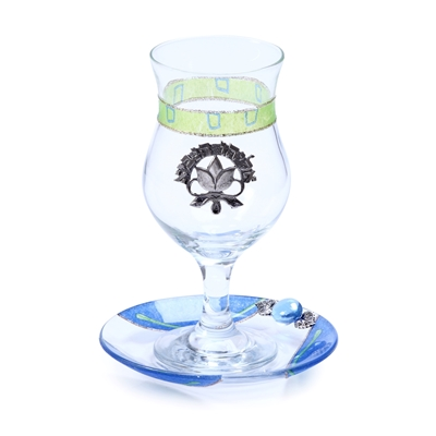 תמונה של כוס אליהו ותחתית מזכוכית (ירוק) - לילי אומנות