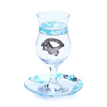 תמונה של כוס מרים ותחתית מזכוכית (כחול) - לילי אומנות