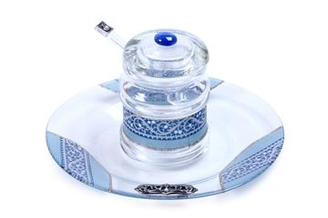 תמונה של כלי הגשה לחרוסת / חזרת מזכוכית (כחול) - לילי אומנות