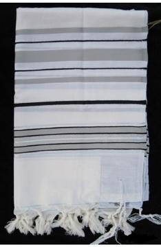 תמונה של טלית מודרנית מצמר (אפור ושחור)