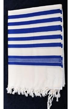 """תמונה של טלית מפוארת מצמר """"כתר"""" (כחול)"""
