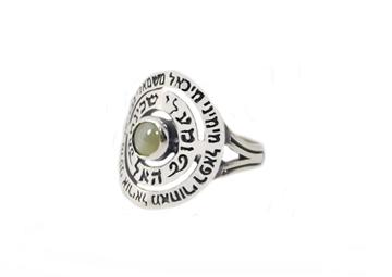 תמונה של טבעת ספירלה עם שמות המלאכים ושיבוץ אבן עין החתול