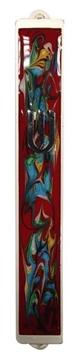 תמונה של בית מזוזה ממתכת עם עיטורים צבעוניים במבחר רקעים